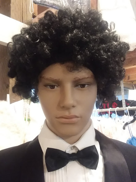 Short, black, curly wig