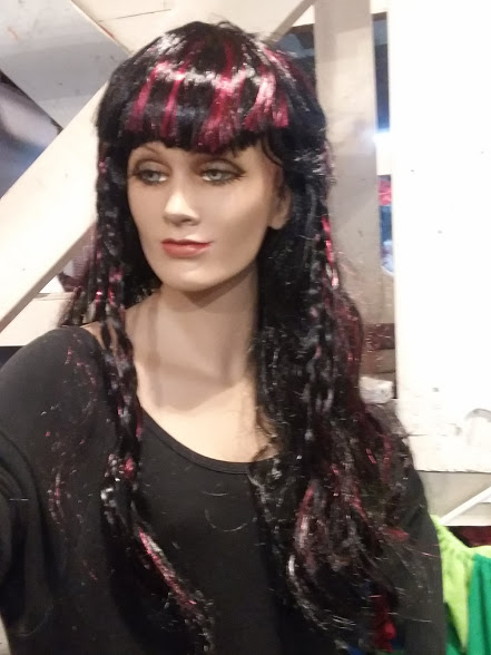 Red & black wig with braids