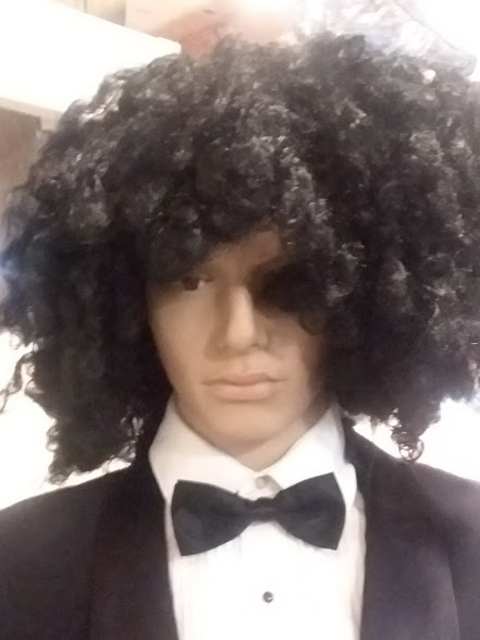 Curly, shoulder length, black wig